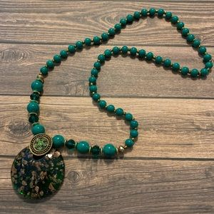 Glass Pendant and Bead Long Necklace